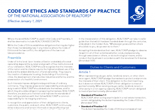 Realtor Code of Ethics 2021 (Click to Download)